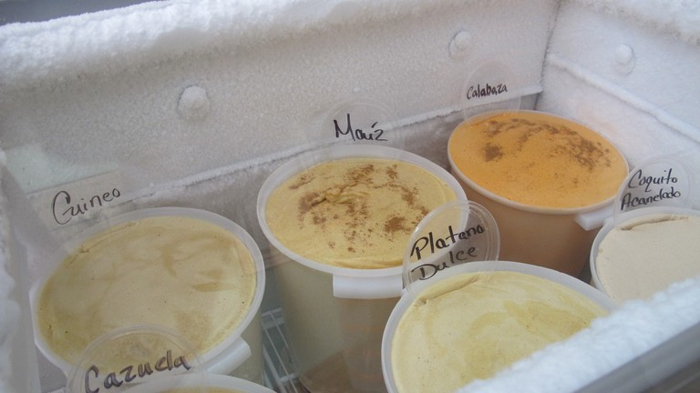 Try the exotic flavors at Heladeria Lares - green banana, corn, pumpkin, casserole, sweet plantain and coquito with cinnamon