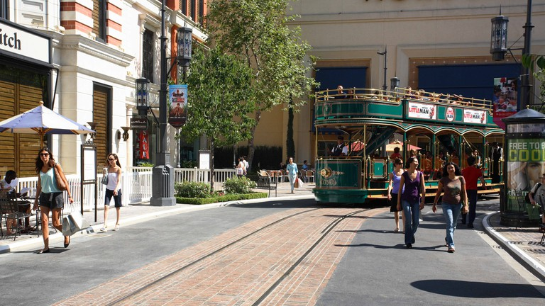 The trolley bus at The Grove shopping area near the Farmers Market, Downtown Los Angeles, United States of America.