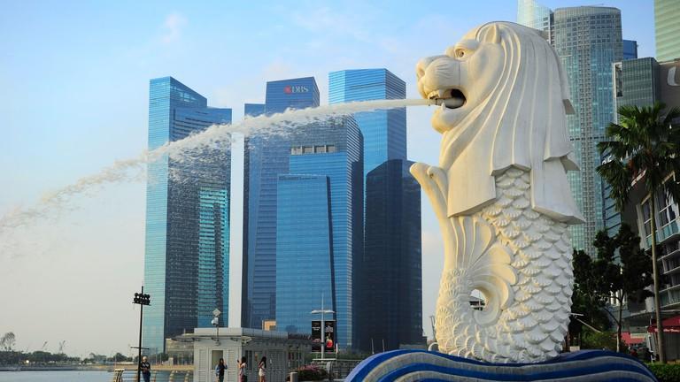 The Merlion fountain, Singapore.