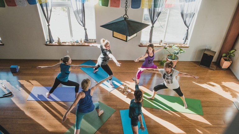 A yoga class at Sagrada Wellness