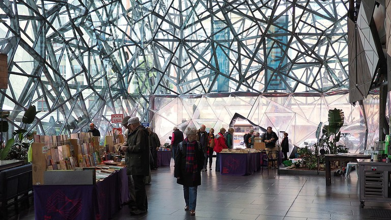 Second hand book market at Federation Square June 2014