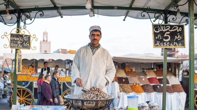 Boiled snails stand at the Jemaa el-Fnaa square, Morrocoo