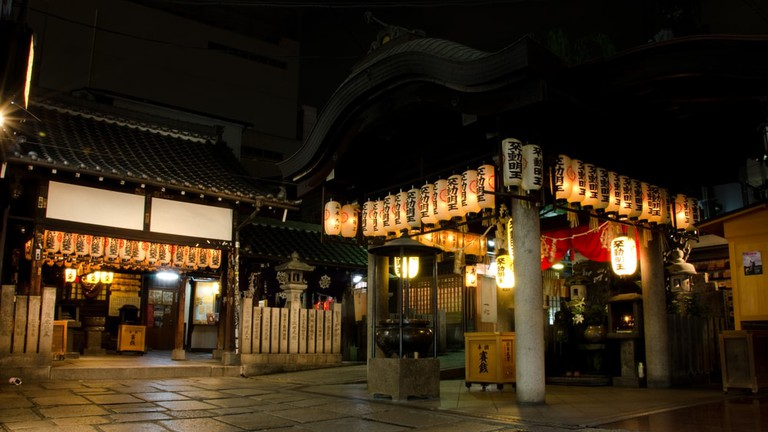 Hozenji Yokocho buddhist temple in the minami district of Osaka, Japan