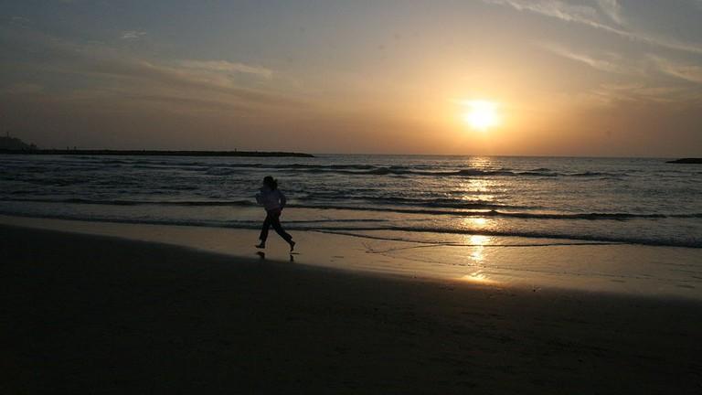 Remi taking Tel Aviv Beach