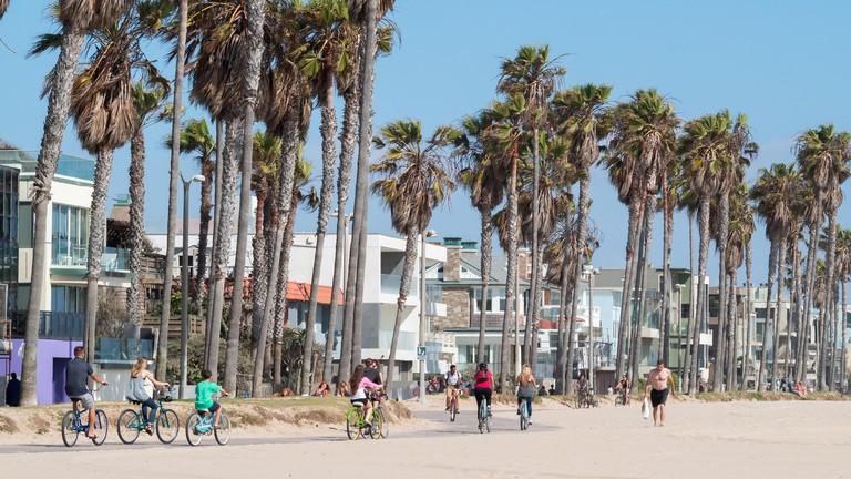 Cycling along Venice beach