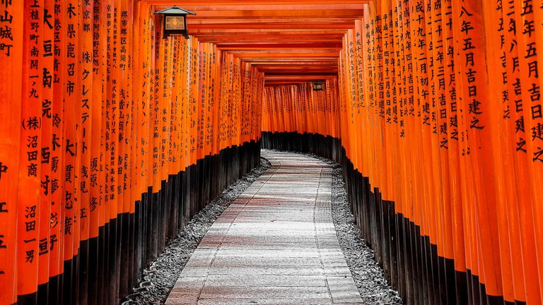 Red Torii gates in Fushimi Inari shrine in Kyoto, Japan