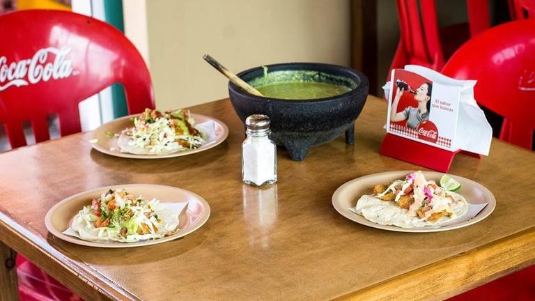 Excellent fish tacos at Don Zefe