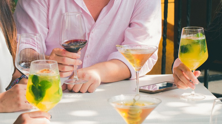 colourful cocktails and wine tasting in a bar