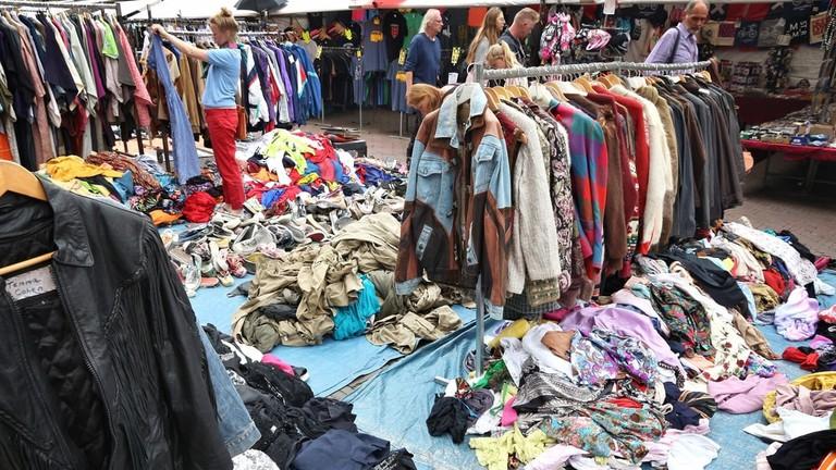 People visit Waterlooplein Market in Amsterdam, Netherlands
