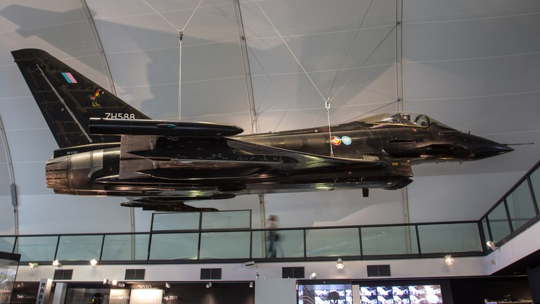 A variety of aircraft, like the Eurofighter Typhoon, is on display at the Royal Air Force Museum, London
