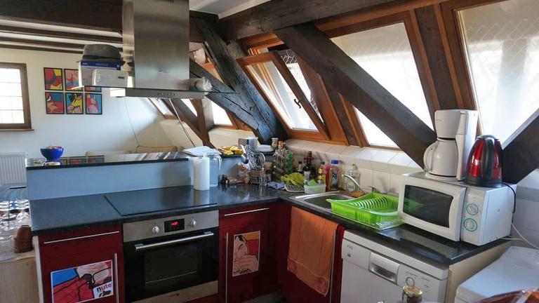 Kitchen in Attic apartment