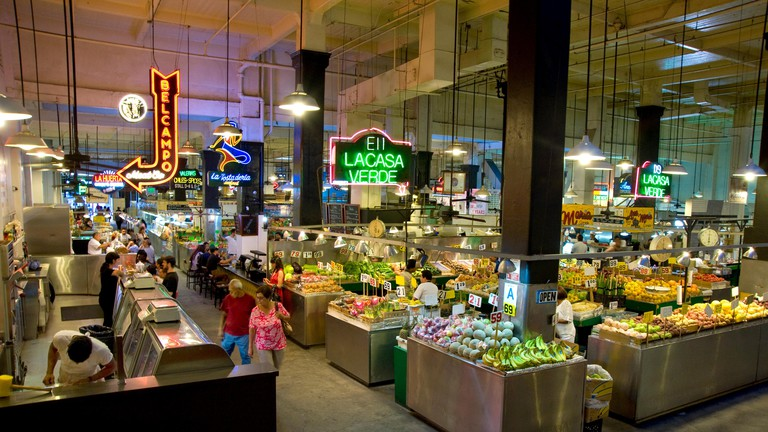Stalls inside Grand Central Market in downtown Los Angeles.