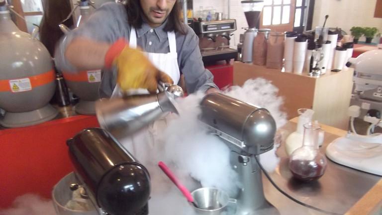 Mixing ice cream at Chin Chin
