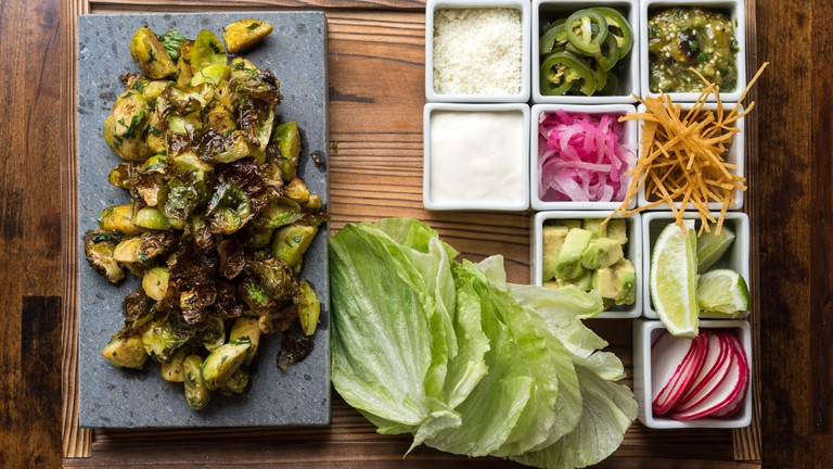 Brussel Sprout Tacos from menu of Dirt Candy.