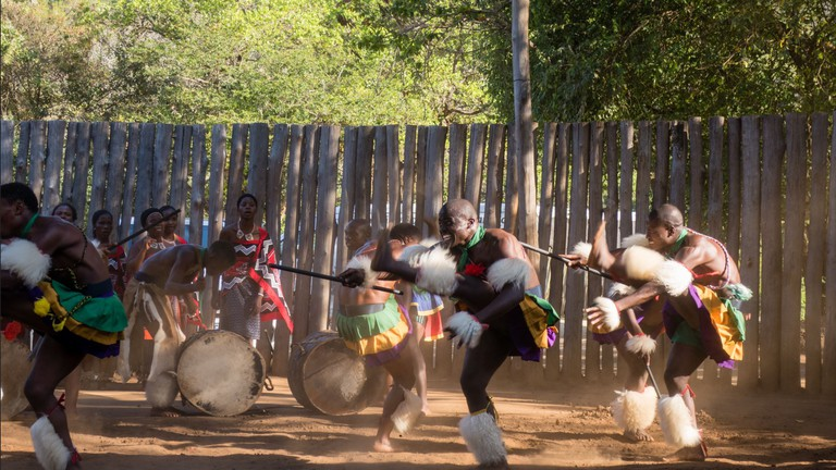 Dancers performing a traditional Swati dance