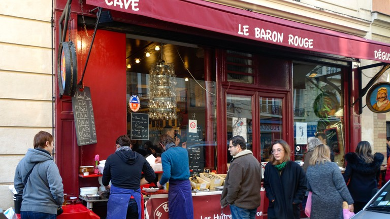 Le Baron Rouge, wine bar close to marche d'Aligre area, selling oysters, Paris, France