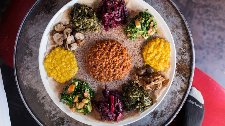 Feast for 2 at Bunna, Ethiopian plant-based cafe, bar, restaurant, and music venue based in Bushwick, Brooklyn.