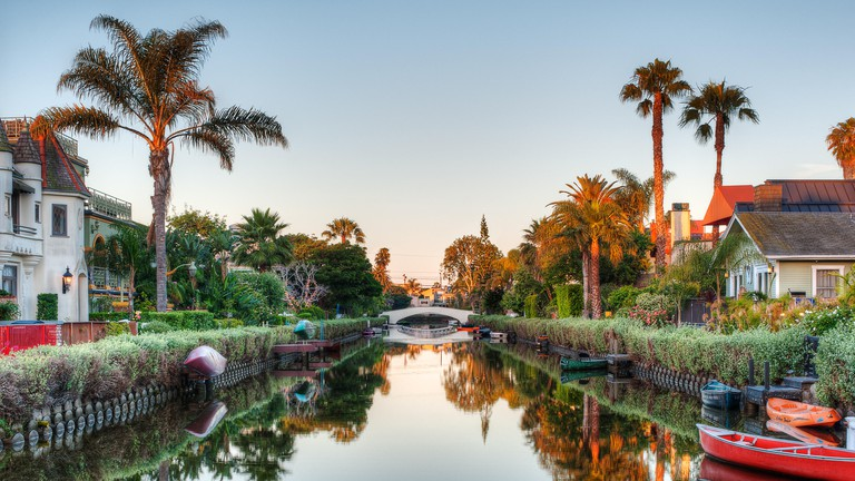 The Carroll Canal photographed by Aurelia Dumont Photography at sunrise in the iconic Venice Canals Historic District in Venice Beach, CA 90291.
