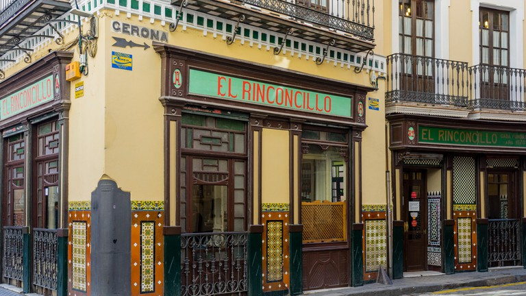 Front facade of the historic El Rinconcillo, Seville, Andalusia, Spain.
