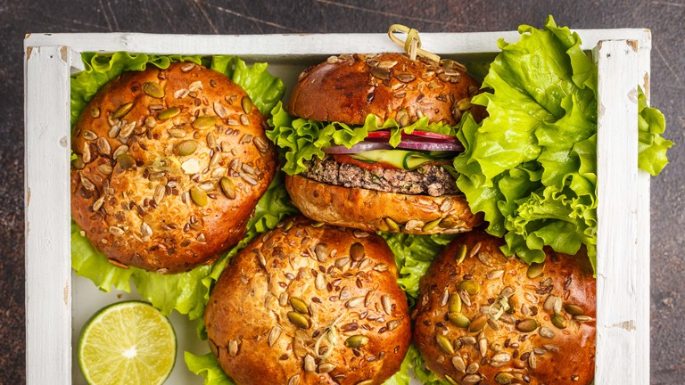 Healthy vegan bean burger with vegetables.