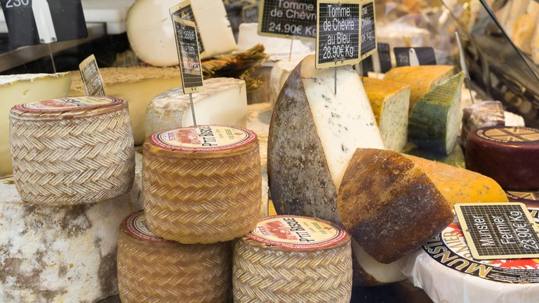 Cheese at the Bastille market, Paris