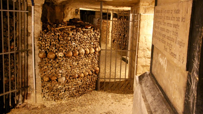 Catacombs in the underground of Paris, France