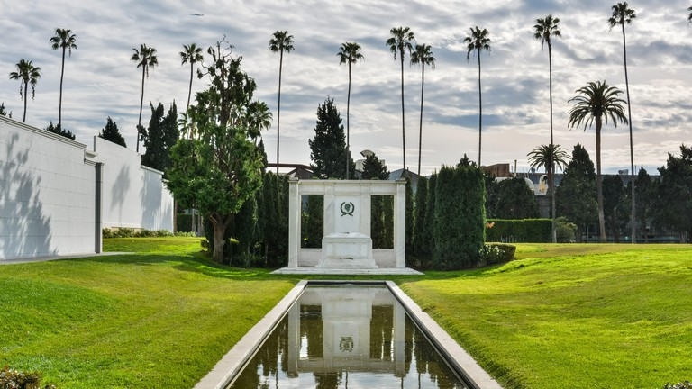 Los Angeles, California, United States of America - January 7, 2017. Tomb of actors Douglas Fairbanks Sr. and Jr., at Hollywood Forever Cemetery in Lo