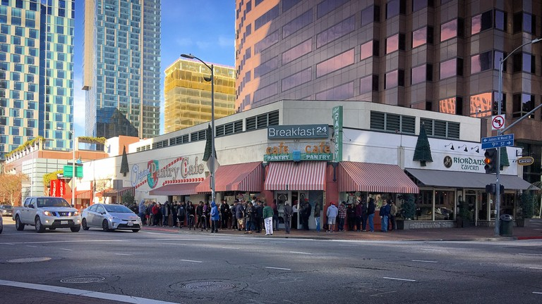 The Pantry Cafe in Downtown at the corner of 9th and Figueroa.