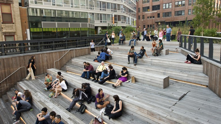 The High Line park is built on a former elevated railway