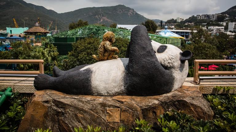 Panda and monkey statue at Hong Kong Ocean Park