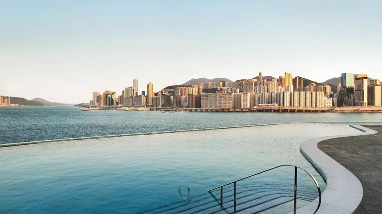 Guests at the Kerry Hotel, Hong Kong, can relax in an infinity pool
