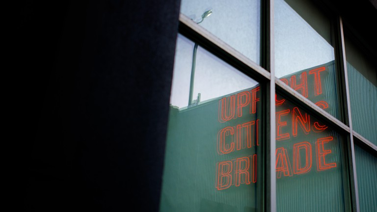 Upright Citizens Brigade sign, in Hollywood, Los Angeles.