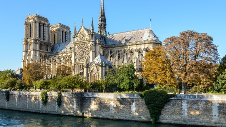 Three quarter view of the southern side of Notre-Dame de Paris cathedral