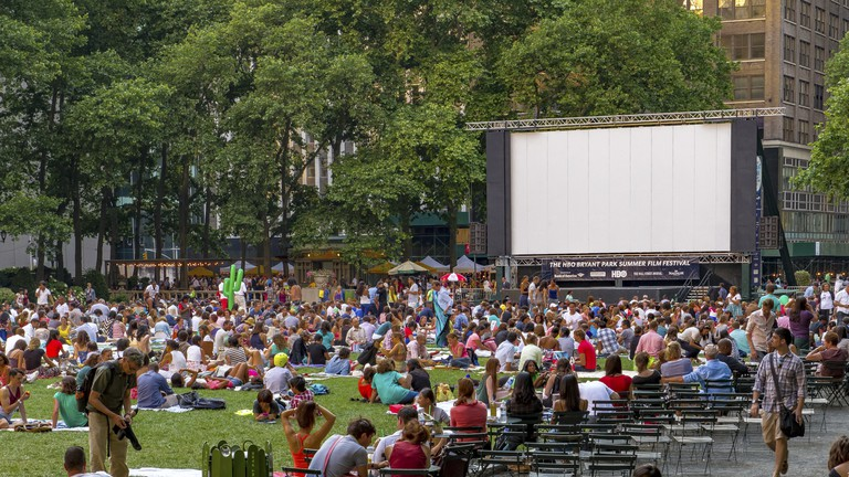 Crowds gathered in Bryant Park , Manhattan for Bryant Park Film Festival , New York, NY.