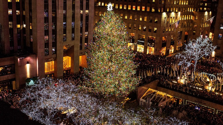 The Rockefeller Center Christmas Tree stays lit until after New Year's Day
