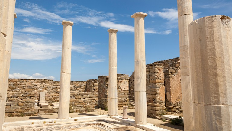 Columns in the House of Dionysus, Delos Archaeological Site, Delos, Greece.