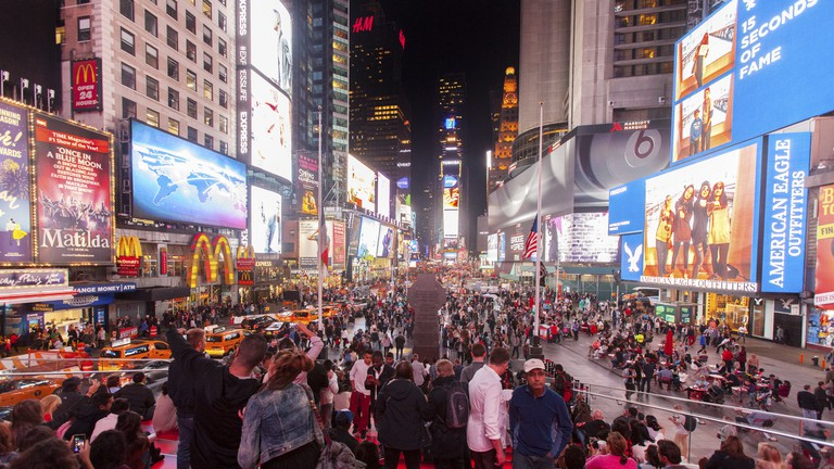 Times Square features an array of digital billboards