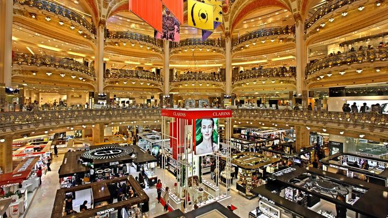 The Galeries Lafayette, the most famous Parisienne shopping center (since 1894), at 9th arrondissement, Paris, France