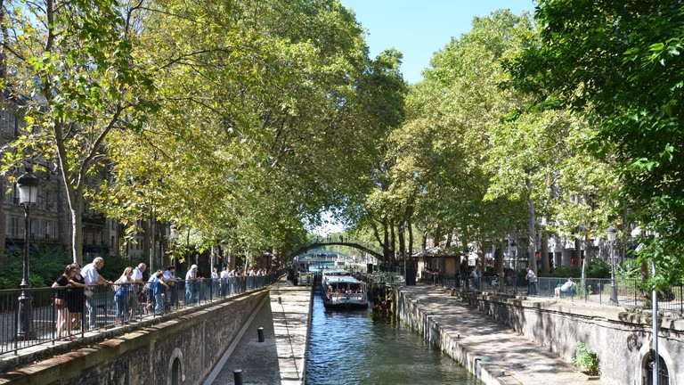 Boat ride in the Canal Saint-Martin in Paris, France.