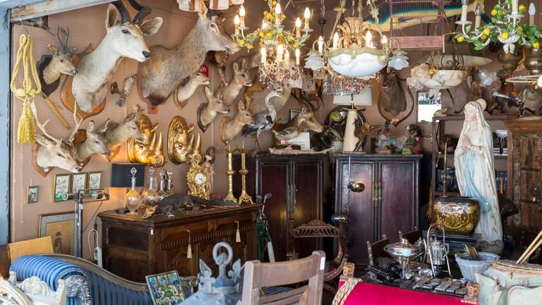 Antiques on display at Marche aux Puces de Saint-Ouen