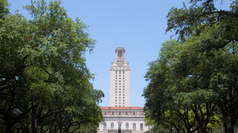 University of Texas Tower from front lawn in Austin, Texas, USA.