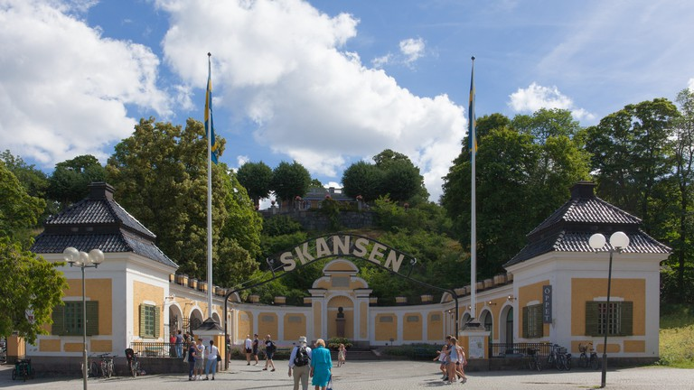 View of the Hazelius entrance of Skansen, the first open-air museum and zoo in Sweden.