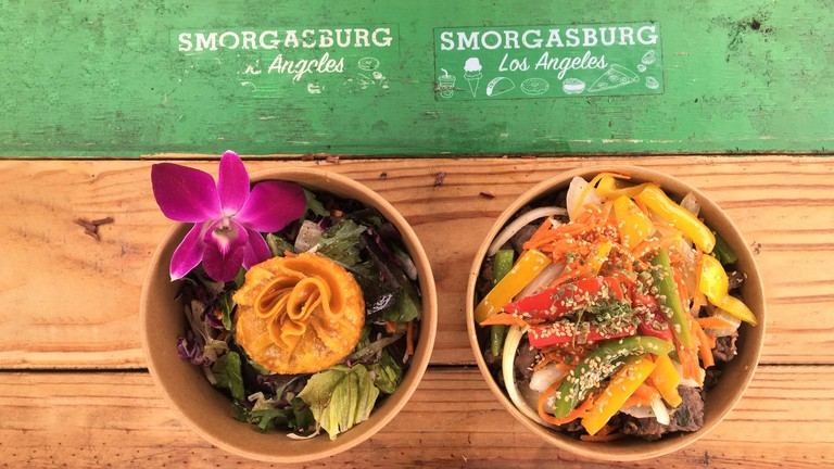 Asian food bowls at Smorgasburg in Los Angeles