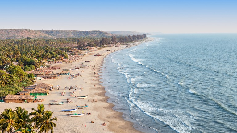 Beauty Arambol beach aerial view landscape, Goa state in India   © saiko3p/Flickr