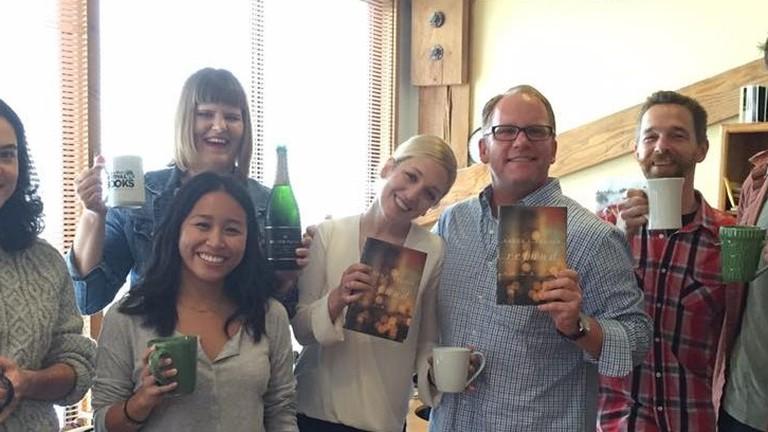 The Counterpoint team celebrates National Book Award finalist Karen Bender/ All photos courtesy of Dan Smetanka, executive director and vice president
