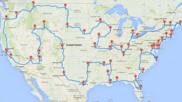 This Map Shows the Quickest (and Ultimate) Road Trip Across America