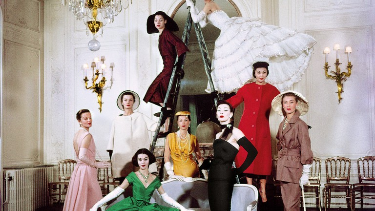 Models posing in new Christian Dior collection.  (Photo by Loomis Dean//Time Life Pictures/Getty Images)   Courtesy of NGV