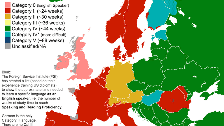 Spain Map Of Languages.This Map Shows You How Hard It Is To Learn Different Languages