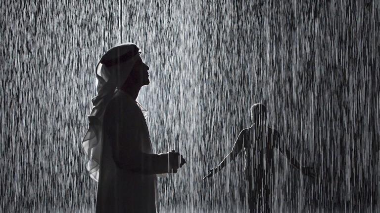 Random International, Rain Room, 2012 now exhibited at Sharjah Art Foundation, 2018