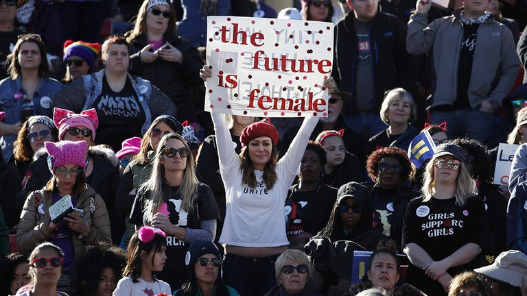 People cheer during a women's march rally, Las Vegas   © John Locher/AP/REX/Shutterstock